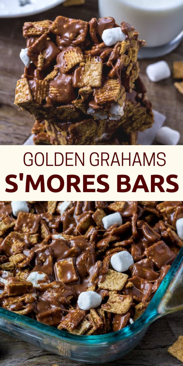 These golden grahams s'mores bars will be your new favorite way to enjoy s'mores. Gooey, chewy, crunchy and filled with chocolate. #smores #nobake #smoresbars #recipes