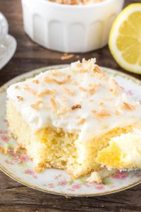 This lemon cake with coconut frosting is moist and tender with a delicious lemon flavor. Then. coconut frosting is fluffy, creamy and filled with coconut.