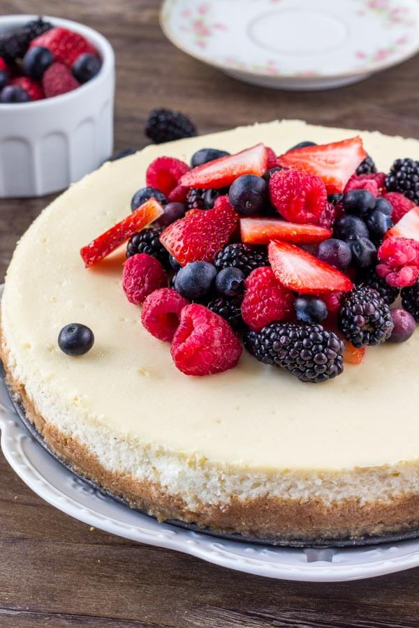 Learn all the secrets to making the perfect New York Cheesecake everytime. The texture is smooth and creamy without being too dense, and it has a delicious, slightly tangy flavor that's totally decadent.