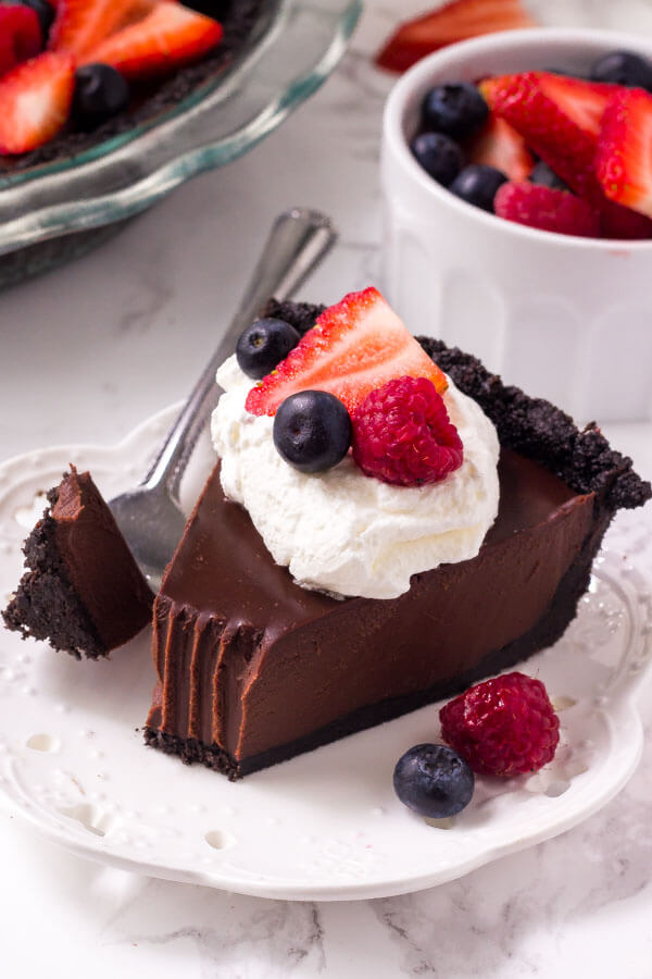 Chocolate cream pie is a easy, no bake recipe that's decadent, rich and completely delicious.