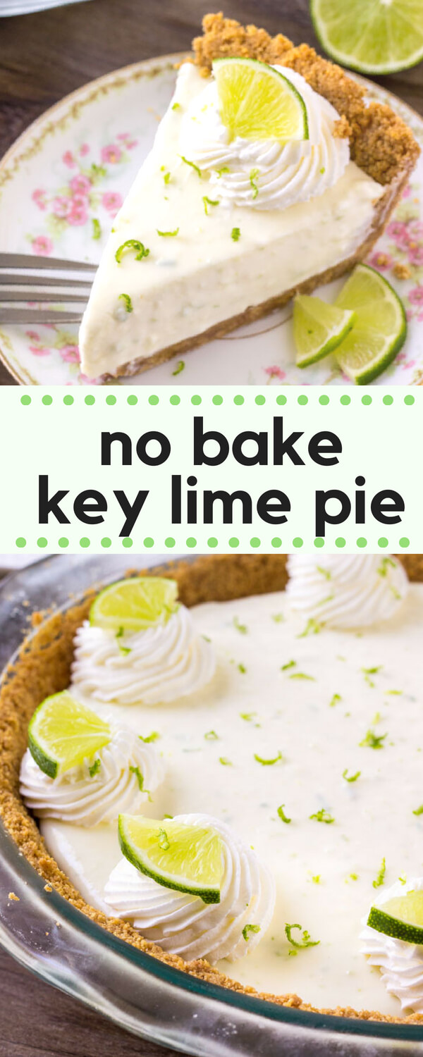 This no bake key lime pie is the perfect easy pie recipe for summer. It has a crunchy graham cracker crust, and a creamy filling with a delicious tanginess thanks to fresh lime juice and zest. #keylimepie #keylime #nobake #nobakepie #pie #desserts #summer