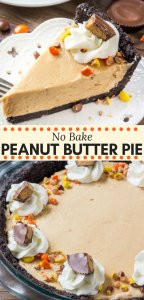 No bake peanut butter pie is extra rich, super creamy, and so easy to make. Oreo crust, peanut butter filling, and topped with peanut butter candies and whipped cream. A peanut butter lover's dream! #peanutbutterpie #nobake #nobakepie #peanutbutter #recipes