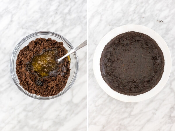 Collage of 2-step process for making Oreo cookie crust.