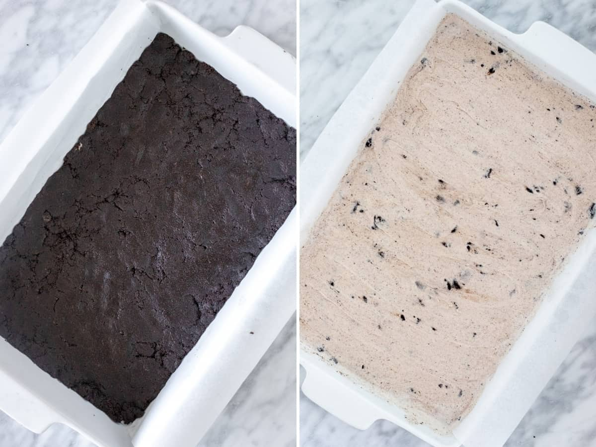 Collage of 2 photos - Oreo crust and ice cream spread on top in a pan.