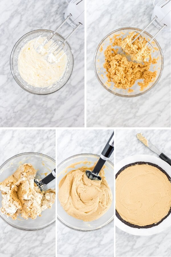 Collage showing how to make peanut butter pie filling.