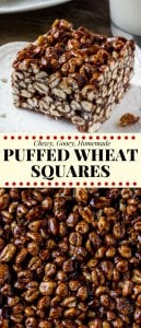 Puffed wheat squares are a classic, easy treat that always reminds me of childhood. They're chewy, gooey, full of chocolate, and you can whip up a batch of these no bake treats in no time.  #puffedwheat #puffedwheatsquares #puffedwheatcake #cerealtreats #chocolatecerealtreats #retro #recipes