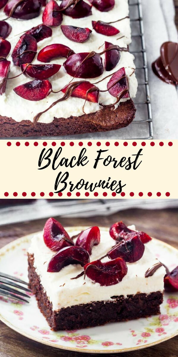If you love black forest cake - then try these black forest brownies. Extra fudgy brownie topped with sweetened whipped cream & fresh cherries. They're the perfect way to celebrate cherry season. #cherries #brownies #blackforest #summerdesserts