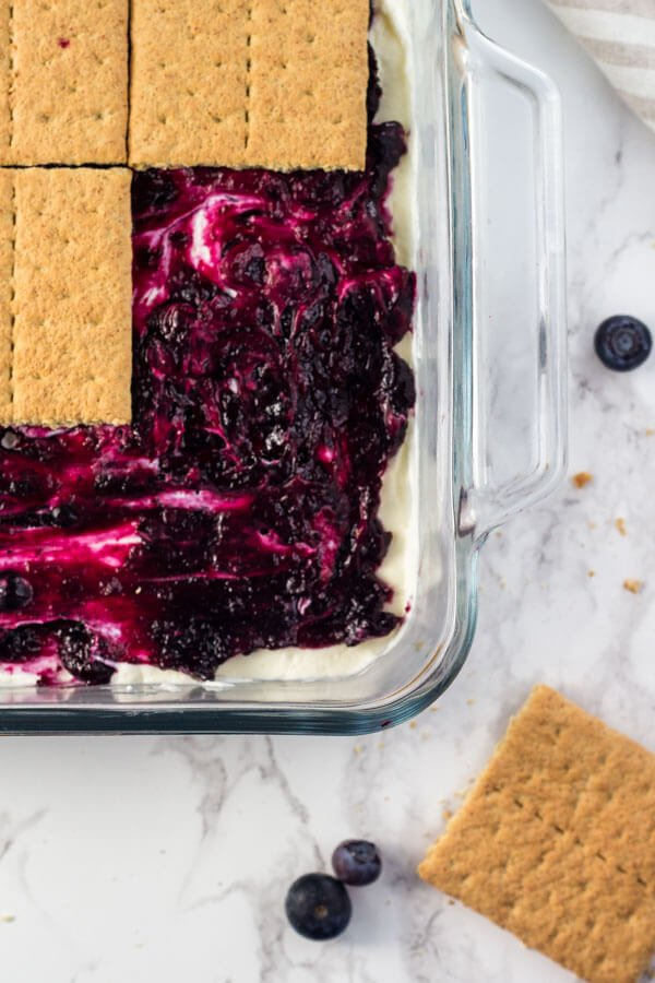 Blueberry Cheesecake Icebox Cake. An easy, no bake summer dessert.