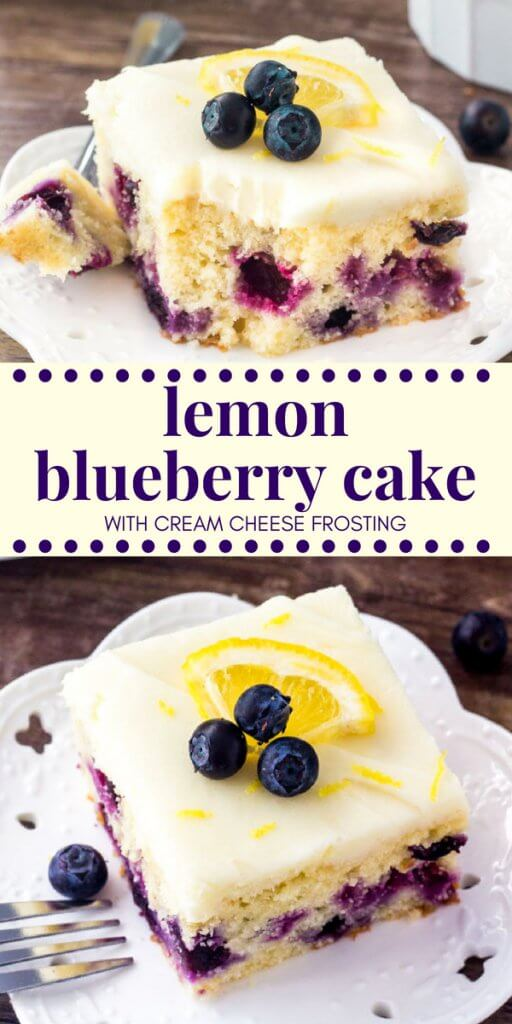 This lemon blueberry cake starts with a moist & tender lemon cake that's dotted with juicy blueberries. Then it's topped with cream cheese frosting that has just a hint of lemon. #lemonblueberry #summerdesserts #summerrecipes #cake #frosting #mothersday