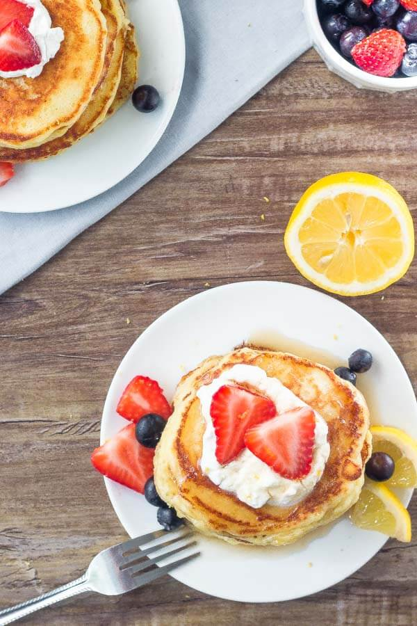 A plate of these lemon pancakes makes for the perfect spring or summer breakfast.