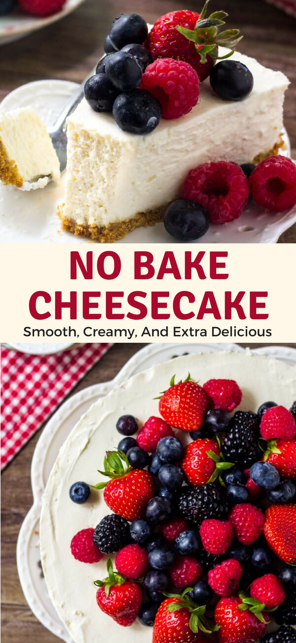 This easy no-bake cheesecake is smooth, creamy, and extra delicious. It has all the flavor of a traditional cheesecake - but with way less effort.#summerdesserts #nobakedesserts #cheesecake #nobake