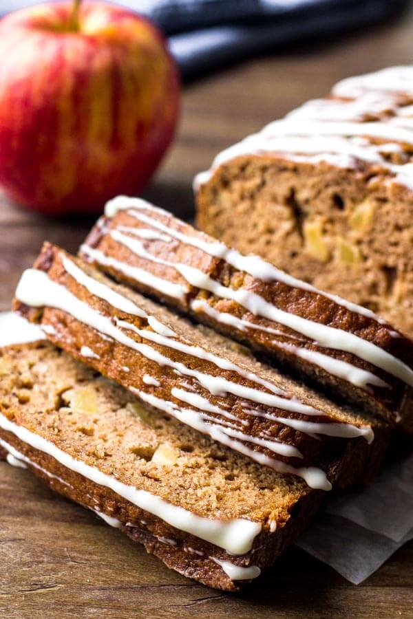 Apple cinnamon bread is filled with warm spices and chunks of apple. Then topped with cream cheese glaze.