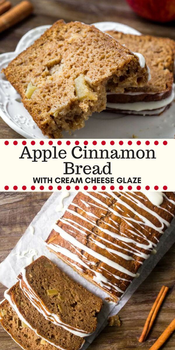 This incredible apple bread is filled with brown sugar, cinnamon & plenty of apples. Fill your kitchen with delicious apple cinnamon goodness by making this applesauce bread! #apples #fallbaking #recipes #cinnamonsugar #applecinnamon #quickbreads
