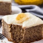 The Best Banana Cake - moist, tender, filled with banana bread flaor and topped with cream cheese frosting