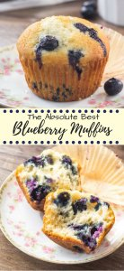 This quick & easy blueberry muffin recipe has been tested over & over again for the perfect blueberry muffins. Super moist with golden edges & extra berries #blueberries #muffins #summer #recipes #blueberrymuffins