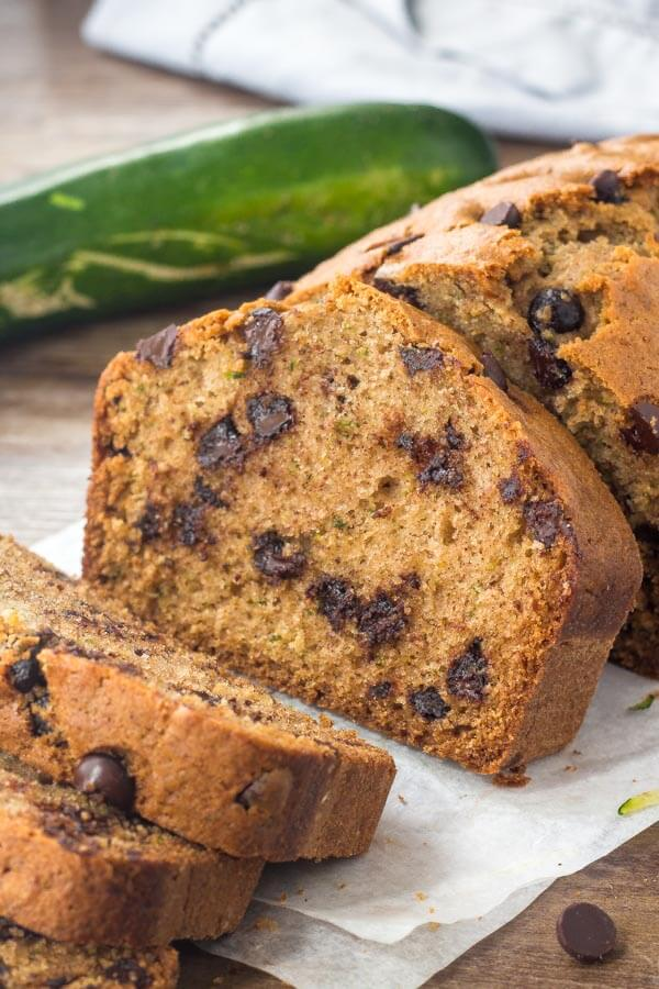 Chocolate chip zucchini bread is moist, tender and filled with chocolate chips. Transform your garden zucchini into this delicious treat!