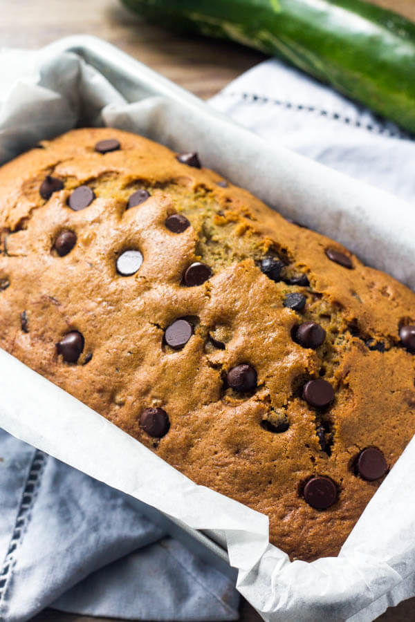 Chocolate chip zucchini bread recipe - moist, tender & filled with chocolate.
