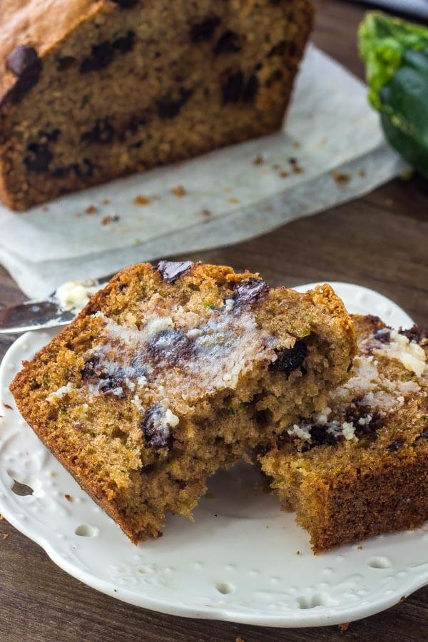 Chocolate Zucchini Bread - adding chocolate chips makes this zucchini bread even more delicious.