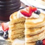 Adding a little cream cheese into your pancake batter makes for the fluffiest pancakes around.