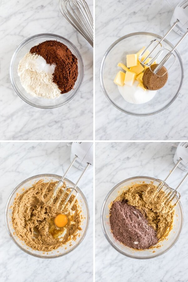 4 step-by-step photos of making double chocolate chip cookies
