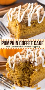 Pumpkin, spice & everything nice come together in this easy Pumpkin Coffee Cake with streusel topping. Made with sour cream so it's super moist - it's perfect for dessert or breakfast for fall! #pumpkin #fall #coffeecake #pumpkincoffeecake #thanksgiving #breakfast #dessert #baking #thanksgivingdessert