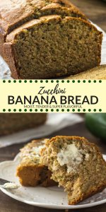Zucchini banana bread is ultra moist, extra tender and the most flavorful banana bread you'll eat. It's not too sweet so it's perfect for breakfast, and seriously the most delicious way to use up all your fresh zucchini. #zucchini #bananabread #recipes #zucchinirecipes