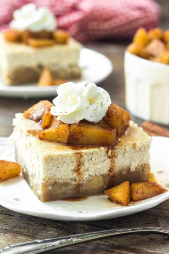 Apple cheesecake bars have an apple blondie base and cinnamon cheesecake layer