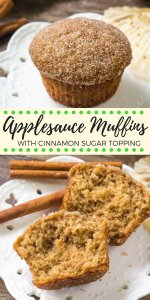 These moist applesauce muffins have a delicious apple cinnamon flavor and are sweetened with applesauce. They're the perfect easy muffin recipe, and the cinnamon sugar topping makes them extra drool-worthy.  #apples #muffins #applesauce #cinnamonsugar #fall