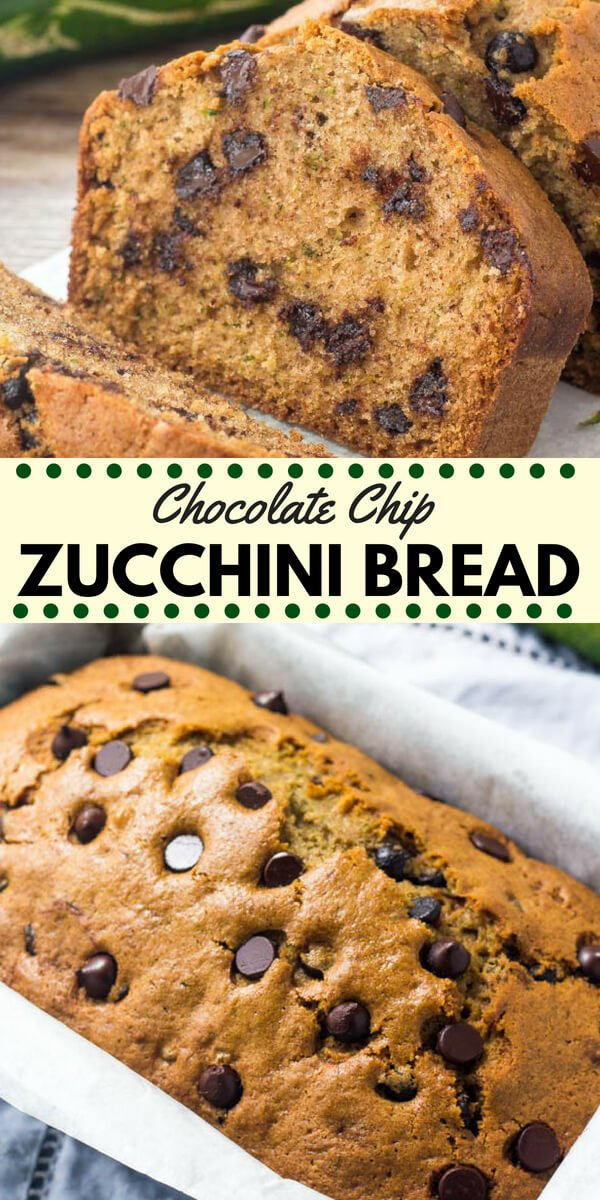 Chocolate chip zucchini bread is moist, tender and filled with chocolate chips.  Transform your garden zucchini into this delicious treat! #zucchini #zucchinibread #zucchinichocolatechip #fall #baking