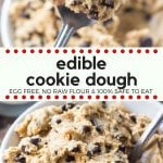 If you love cookie dough then you need to try this edible cookie dough. It's made without eggs and no raw flour, so it's completely safe to eat. So get out your spoon and pour yourself a cold glass of milk - because this eggless cookie dough is delicious. #cookiedough #egglesscookiedough #ediblecookiedough #chocolatechipcookies