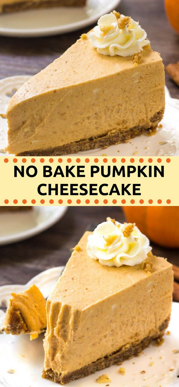 This extra creamy no bake pumpkin cheesecake has a delicious pumpkin spice flavor and cinnamon graham cracker crust. It's way easier to make than traditional cheesecake - and perfect for fall or Thanksgiving!  #cheesecake #pumpkin #Thanksgiving #desserts #nobake #pumpkinspice