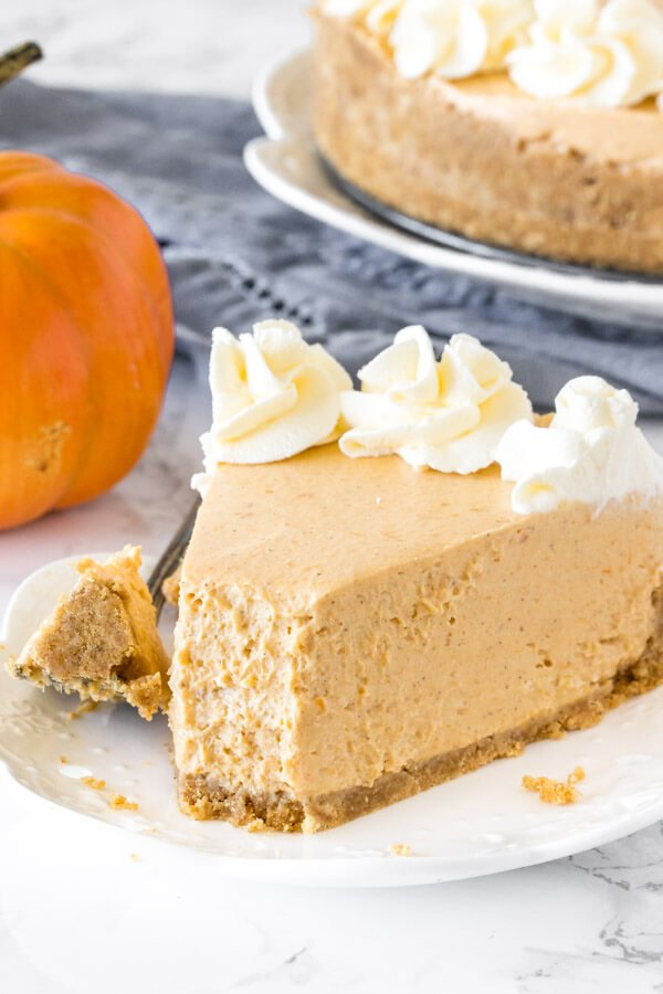 A slice of no-bake pumpkin cheesecake with a bite taken out of it to show the extra creamy texture.