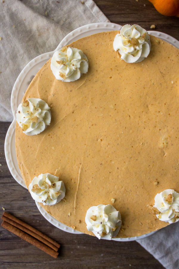 No Bake Pumpkin Cheesecake topped with whipped cream