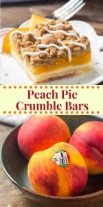 These Peach Pie Crumble Bars combine the 2 best peach recipes around - peach pie & peach crumble. Buttery shortbread base. Then they have a layer of juicy peaches followed by crunchy oatmeal crumble. #ad #sponsored #LookforourLeaf #OkanaganGrown #BCTFPeaches #peaches #peachpie #peachbars