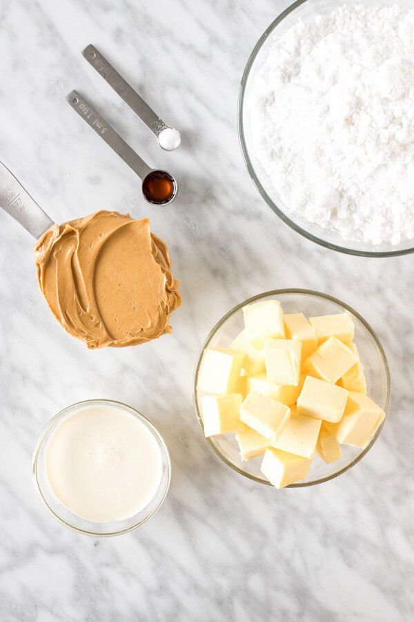 Peanut butter buttercream ingredients.