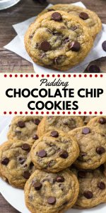 These chocolate chip cookies with pudding mix are the softest, chewiest cookies around. They have golden edges, a delicious caramel flavor, and slightly gooey centers. #chocolatechipcookies #cookies #puddingcookies