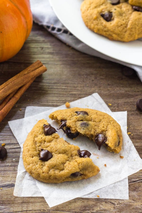 Chocolate Pumpkin Cookies have a delicious pumpkin flavor, a hint of cinnamon & tons of chocolate chips.