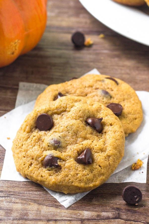 Pumpkin chocolate chip cookies are extra soft with a delicious pumpkin spice flavor & tons of chocolate chips.