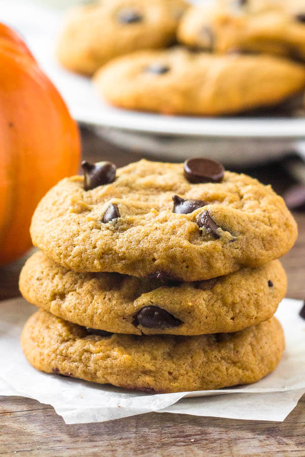 Pumpkin chocolate chip cookies are soft, chewy & perfect for fall.