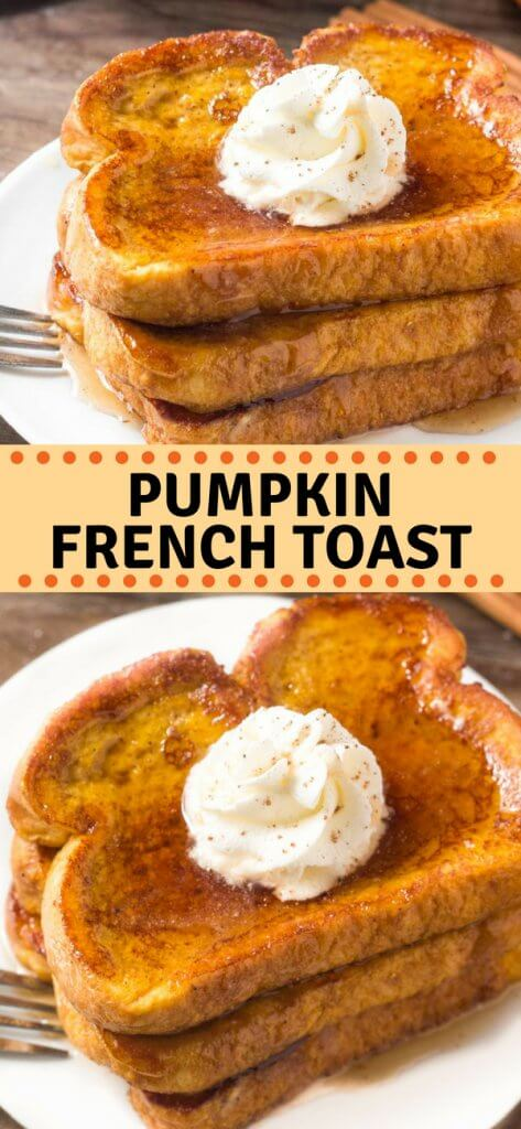 French toast that's perfect for fall! This Pumpkin French Toast is extra fluffy, filled with pumpkin spice & tastes amazing drizzled in maple syrup. #fall #pumpkin #pumpkinspice #frenchtoast