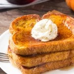 This Pumpkin French Toast is extra fluffy, filled with pumpkin spice & tastes amazing drizzled in maple syrup.