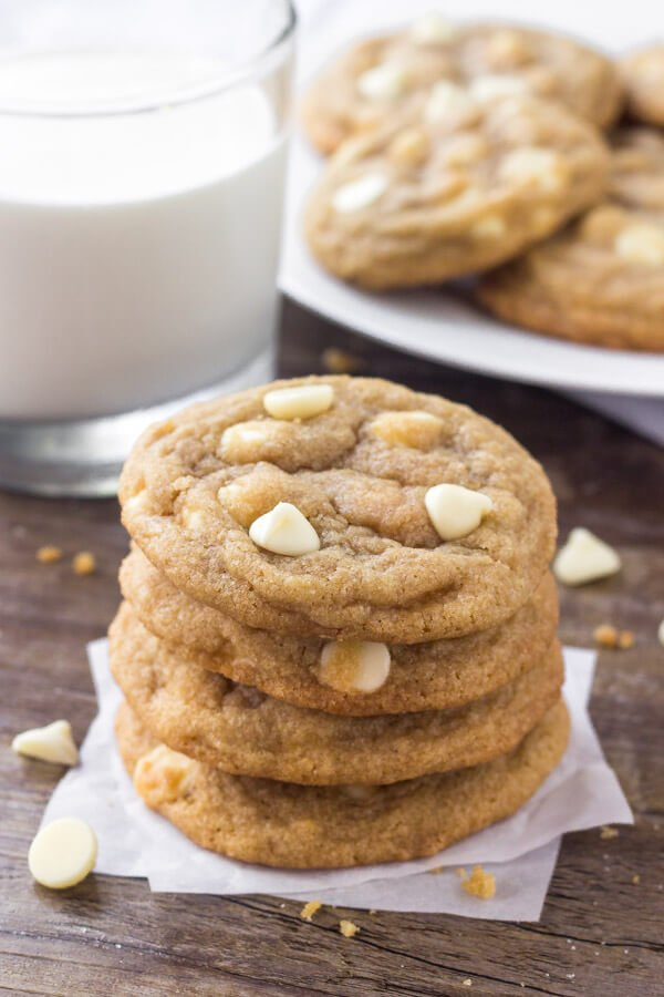 White chocolate chip cookies - this easy recipe turns out soft & chewy every time.