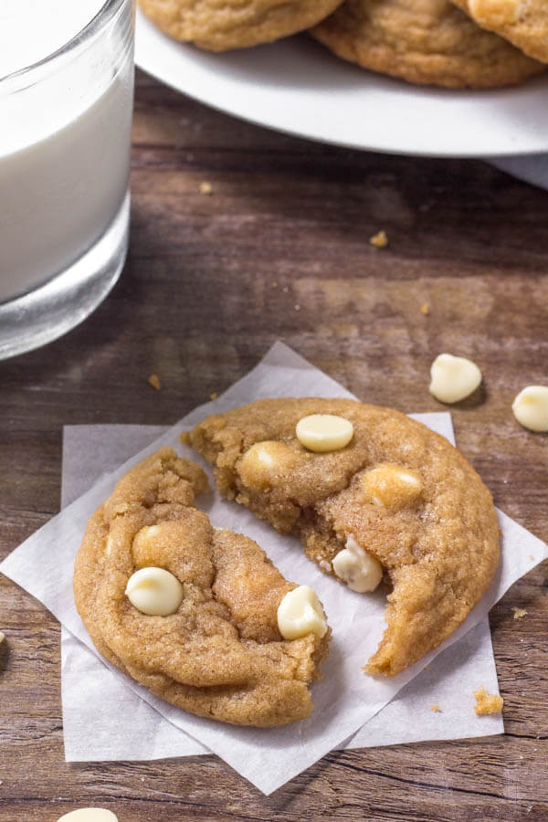 White chocolate chip cookies are the softest, chewiest cookies around. Perfect for the white chocolate lover.