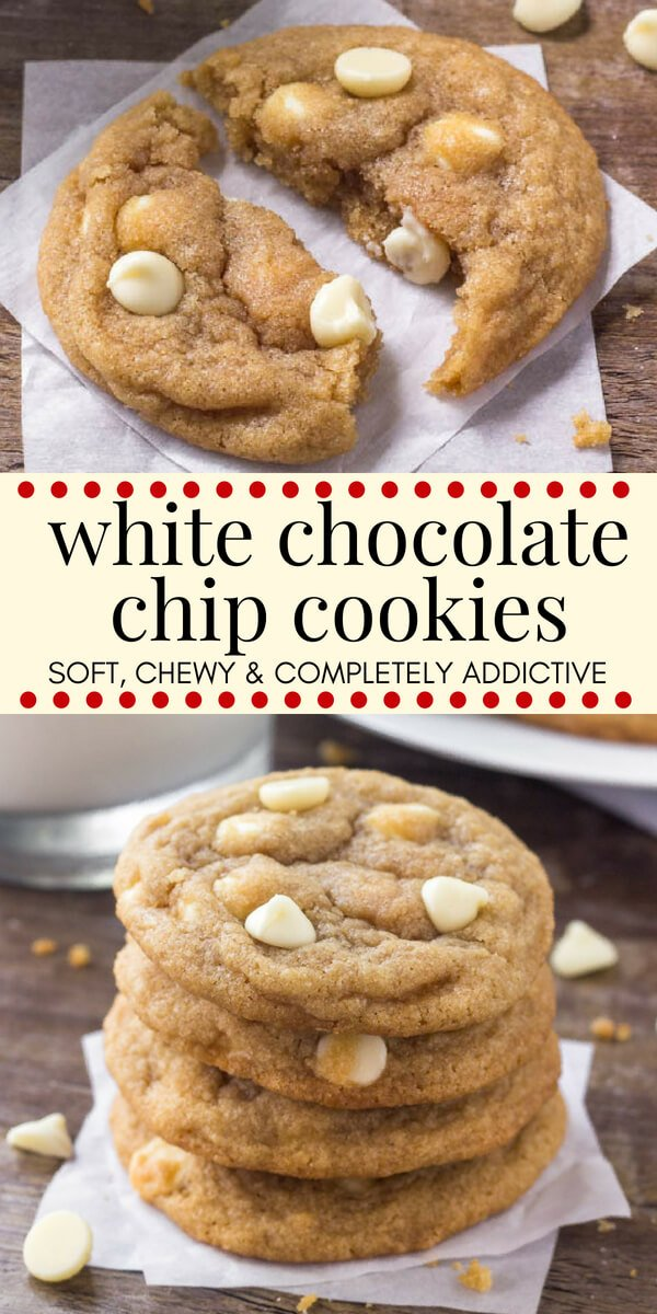 These white chocolate chip cookies are extra soft, super chewy, and filled with delicious white chocolate in every bite. Switch up your chocolate chip cookies by making this delicious white chocolate variety. #whitechocolate #chocolatechipcookies #whitechocolatechipcookies #cookies #recipes