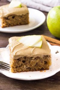 Apple cinnamon cake is moist & flavorful. Then it's topped with caramel frosting.