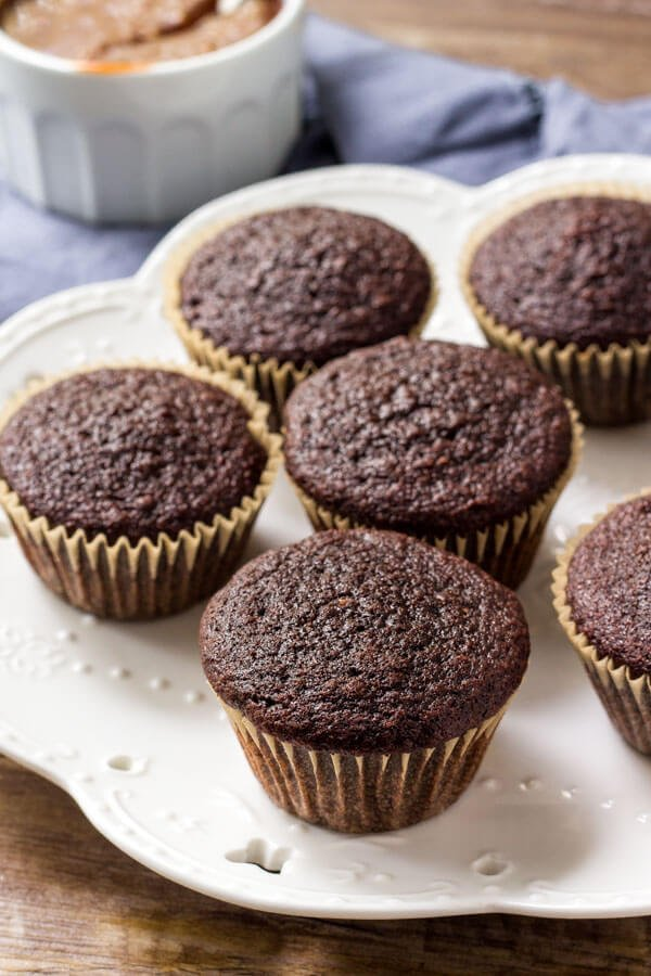 A plate of moist chocolate cupcakes.