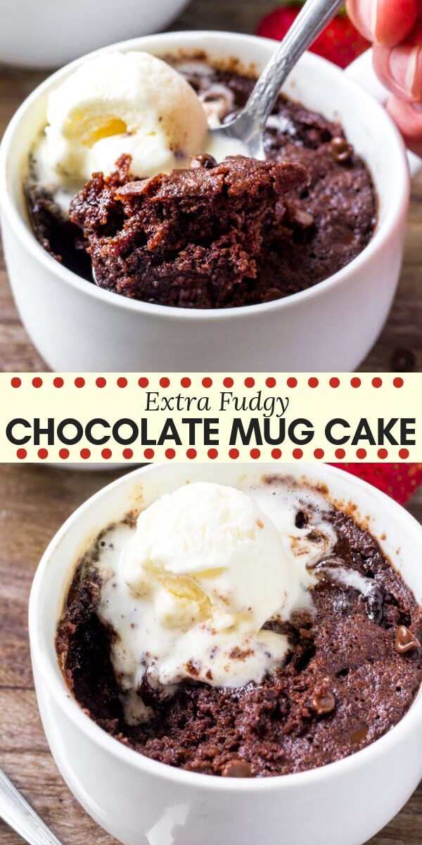 This moist chocolate mug cake fudgy, a little gooey and perfect for when your chocolate craving hits. It's ready in minutes and the delicious chocolate indulgence. #mugcake #chocolatecake #easydesserts #singleserving #chocolate