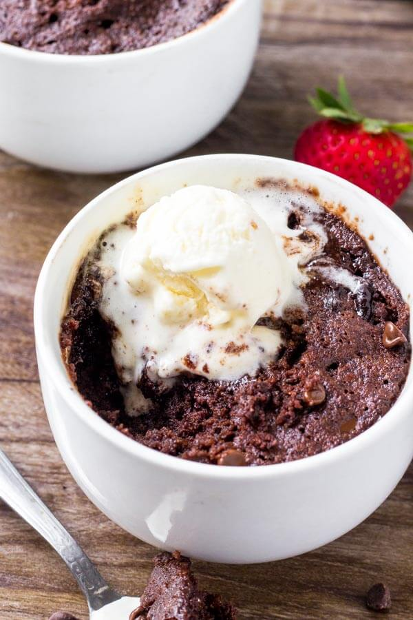 This moist chocolate mug cake fudgy, a little gooey and perfect for when your chocolate craving hits. It's ready in minutes and the delicious chocolate indulgence.
