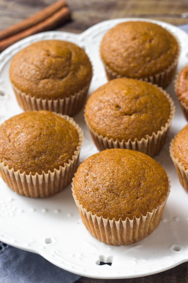 Pumpkin spice cupcakes are moist, flavorful and filled with pumpkin