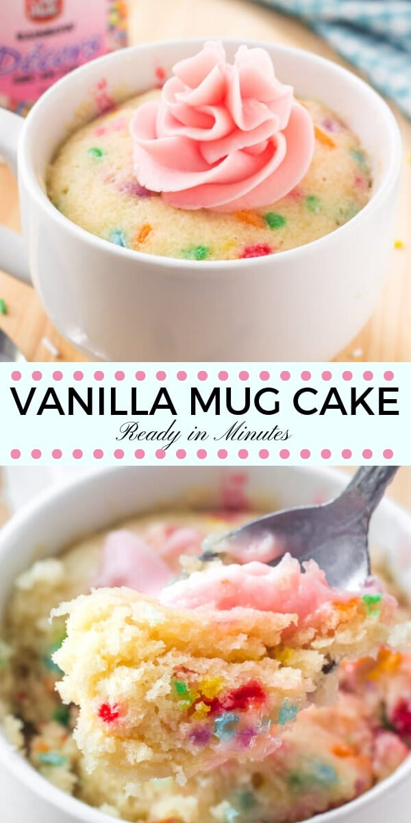 This easy vanilla mug cake is made in the microwave and ready in minutes! It's moist, with a delicious vanilla flavor and tons of sprinkles.#mugcake #vanillacake #sprinkles #cake